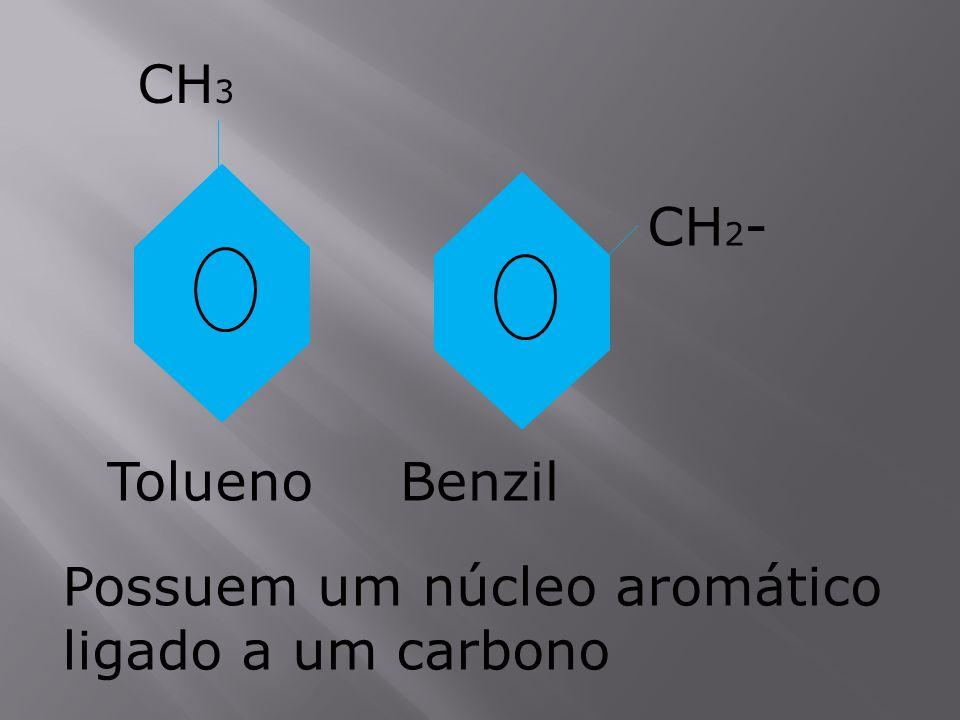 CH 3 Tolueno CH 2 - Benzil Possuem um núcleo aromático ligado a um carbono