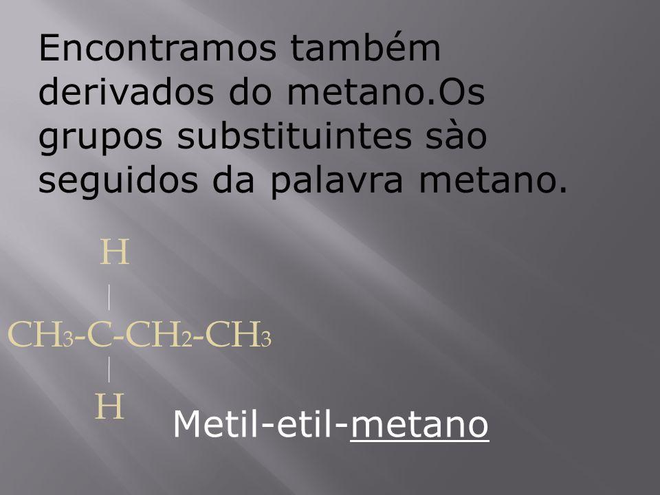 Encontramos também derivados do metano.Os grupos substituintes sào seguidos da palavra metano. CH 3 -C-CH 2 -CH 3 H H Metil-etil-metano