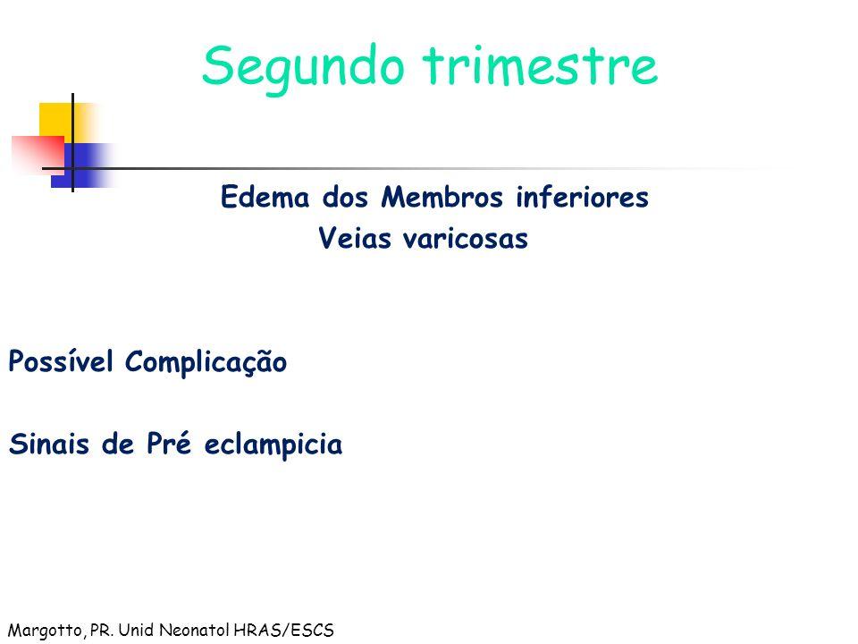 Segundo trimestre Edema dos Membros inferiores Veias varicosas Possível Complicação Sinais de Pré eclampicia Margotto, PR. Unid Neonatol HRAS/ESCS