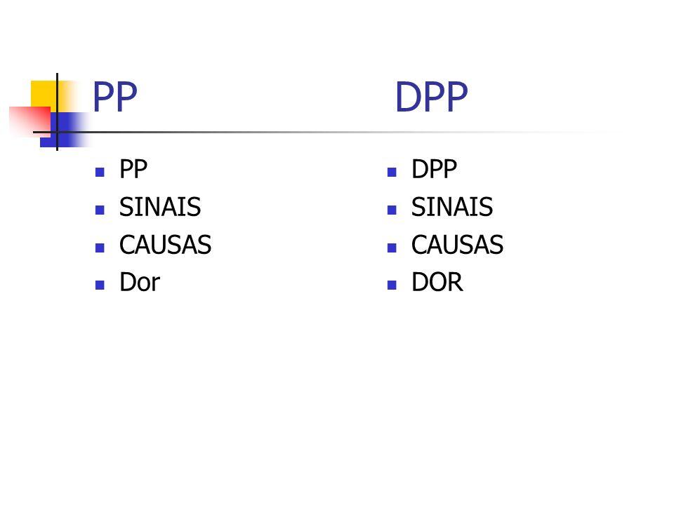 PP DPP PP SINAIS CAUSAS Dor DPP SINAIS CAUSAS DOR