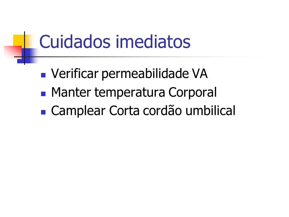 Cuidados imediatos Verificar permeabilidade VA Manter temperatura Corporal Camplear Corta cordão umbilical