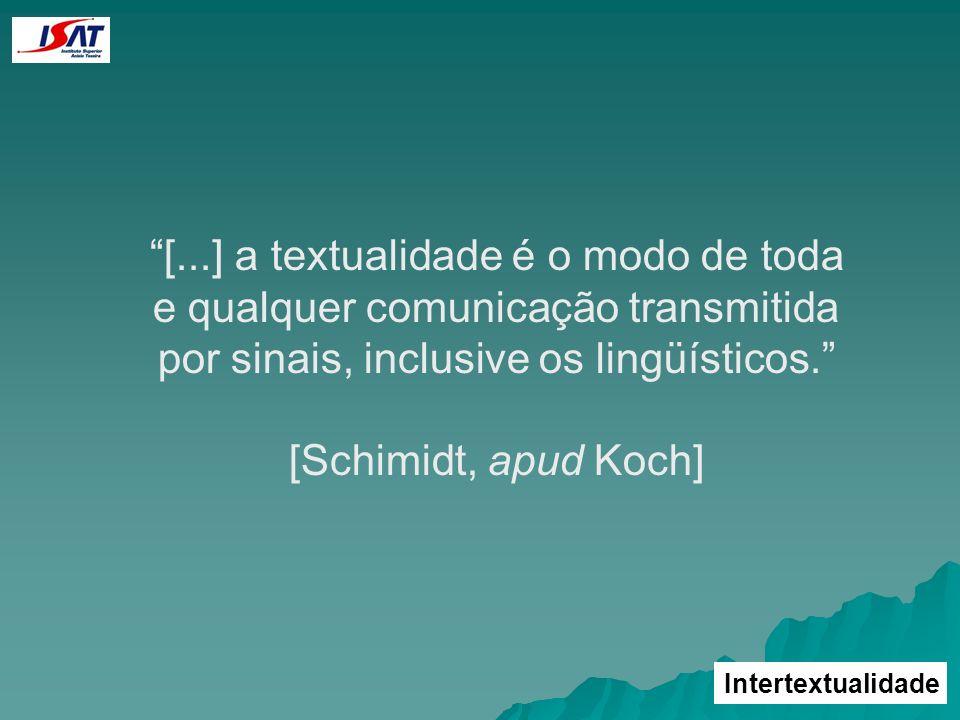 Intertextualidade [...] a textualidade é o modo de toda e qualquer comunicação transmitida por sinais, inclusive os lingüísticos. [Schimidt, apud Koch