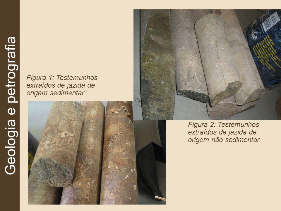Geologia e petrografia Figura 1: Testemunhos extraídos de jazida de origem sedimentar. Figura 2: Testemunhos extraídos de jazida de origem não sedimen