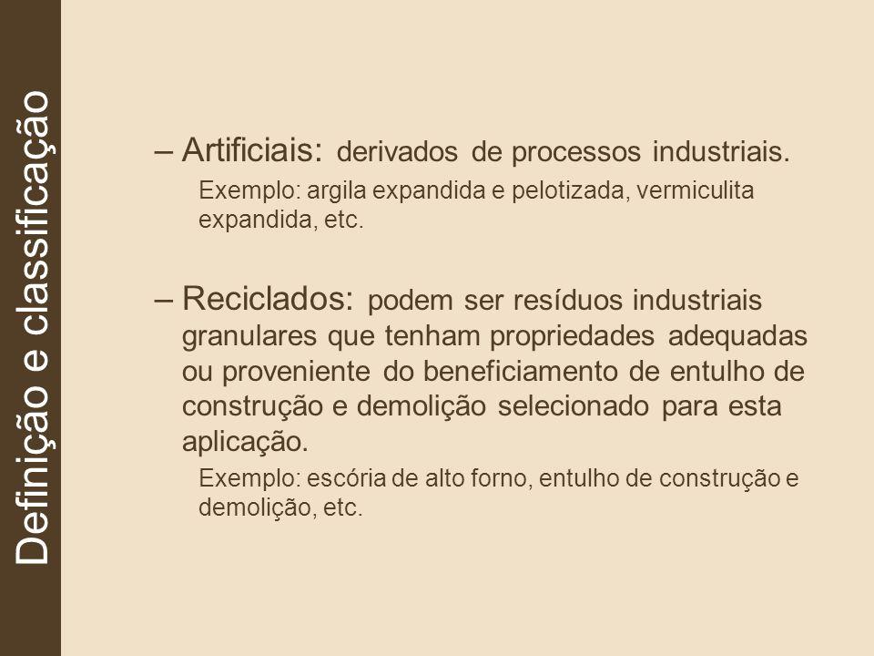 –Artificiais: derivados de processos industriais. Exemplo: argila expandida e pelotizada, vermiculita expandida, etc. –Reciclados: podem ser resíduos