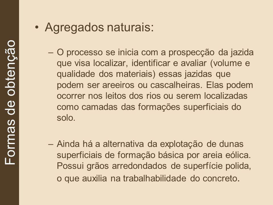 Agregados naturais: –O processo se inicia com a prospecção da jazida que visa localizar, identificar e avaliar (volume e qualidade dos materiais) essa