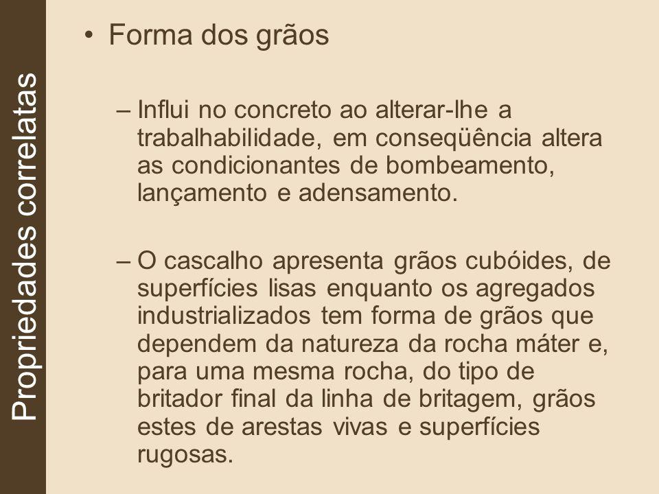 Forma dos grãos –Influi no concreto ao alterar-lhe a trabalhabilidade, em conseqüência altera as condicionantes de bombeamento, lançamento e adensamen