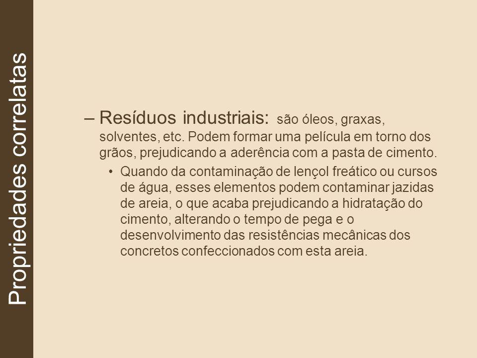 –Resíduos industriais: são óleos, graxas, solventes, etc. Podem formar uma película em torno dos grãos, prejudicando a aderência com a pasta de ciment