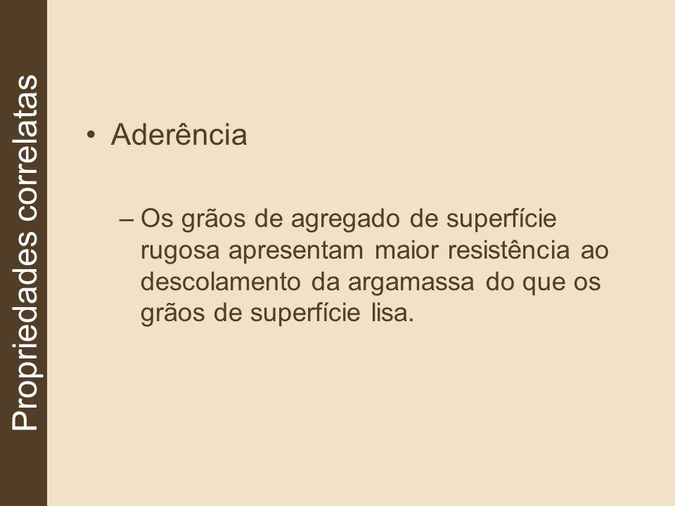Aderência –Os grãos de agregado de superfície rugosa apresentam maior resistência ao descolamento da argamassa do que os grãos de superfície lisa. Pro