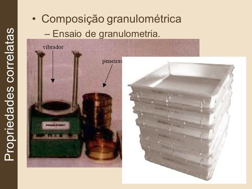 Composição granulométrica –Ensaio de granulometria. Propriedades correlatas