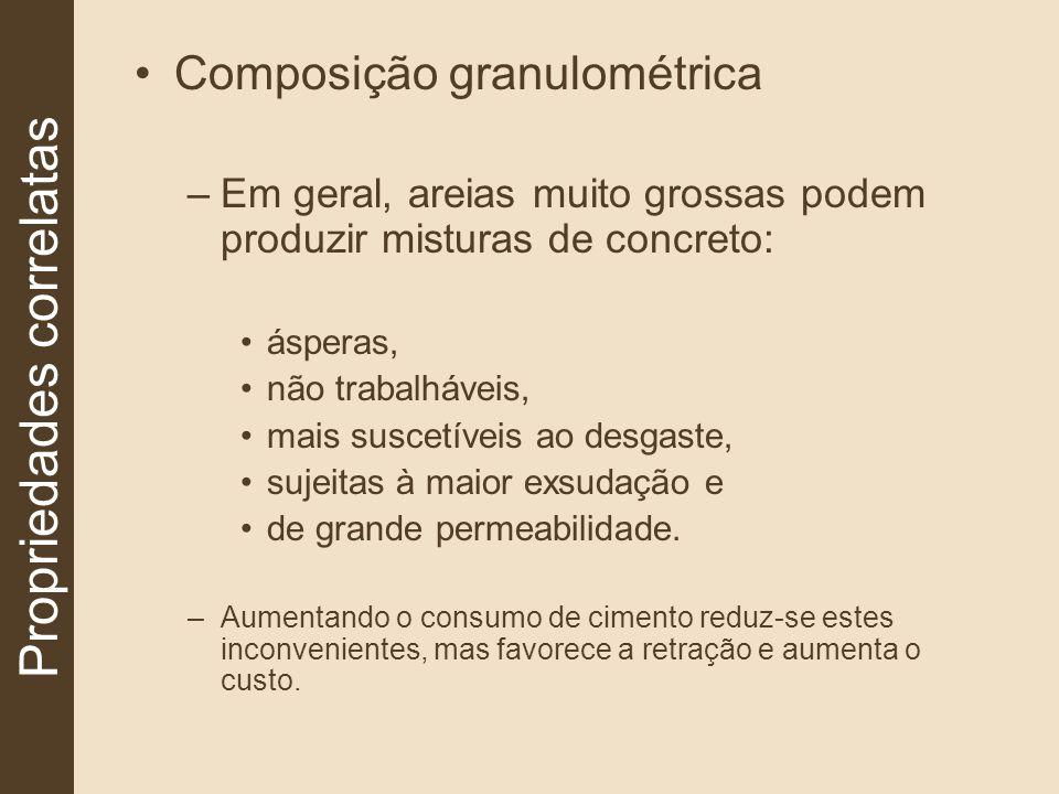 Composição granulométrica –Em geral, areias muito grossas podem produzir misturas de concreto: ásperas, não trabalháveis, mais suscetíveis ao desgaste