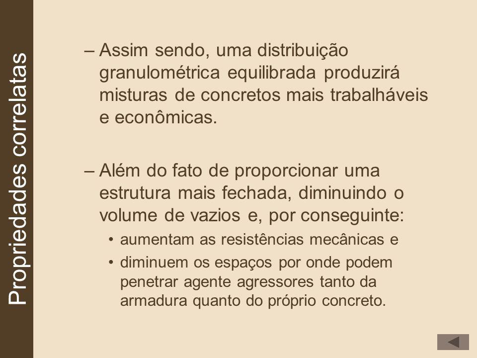 –Assim sendo, uma distribuição granulométrica equilibrada produzirá misturas de concretos mais trabalháveis e econômicas. –Além do fato de proporciona