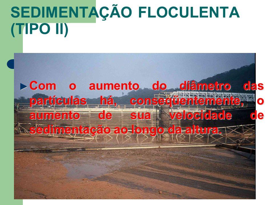 SEDIMENTAÇÃO FLOCULENTA (TIPO II) Com o aumento do diâmetro das partículas há, conseqüentemente, o aumento de sua velocidade de sedimentação ao longo