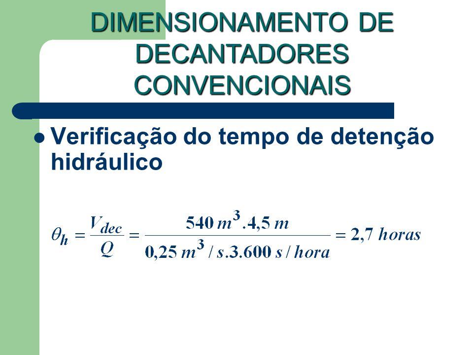 Verificação do tempo de detenção hidráulico DIMENSIONAMENTO DE DECANTADORES CONVENCIONAIS