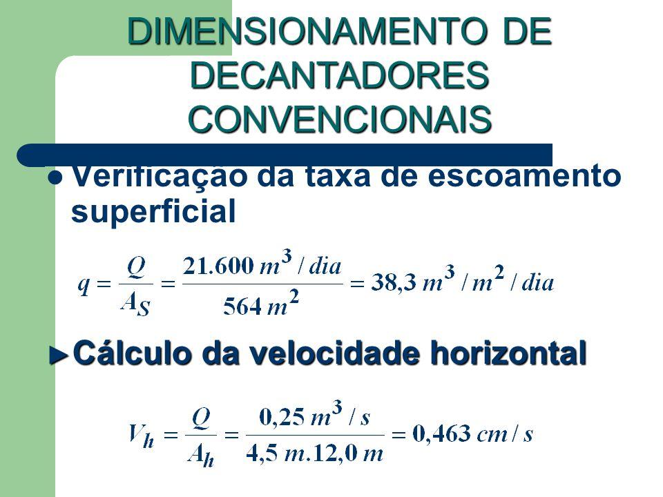 Verificação da taxa de escoamento superficial DIMENSIONAMENTO DE DECANTADORES CONVENCIONAIS Cálculo da velocidade horizontal Cálculo da velocidade hor