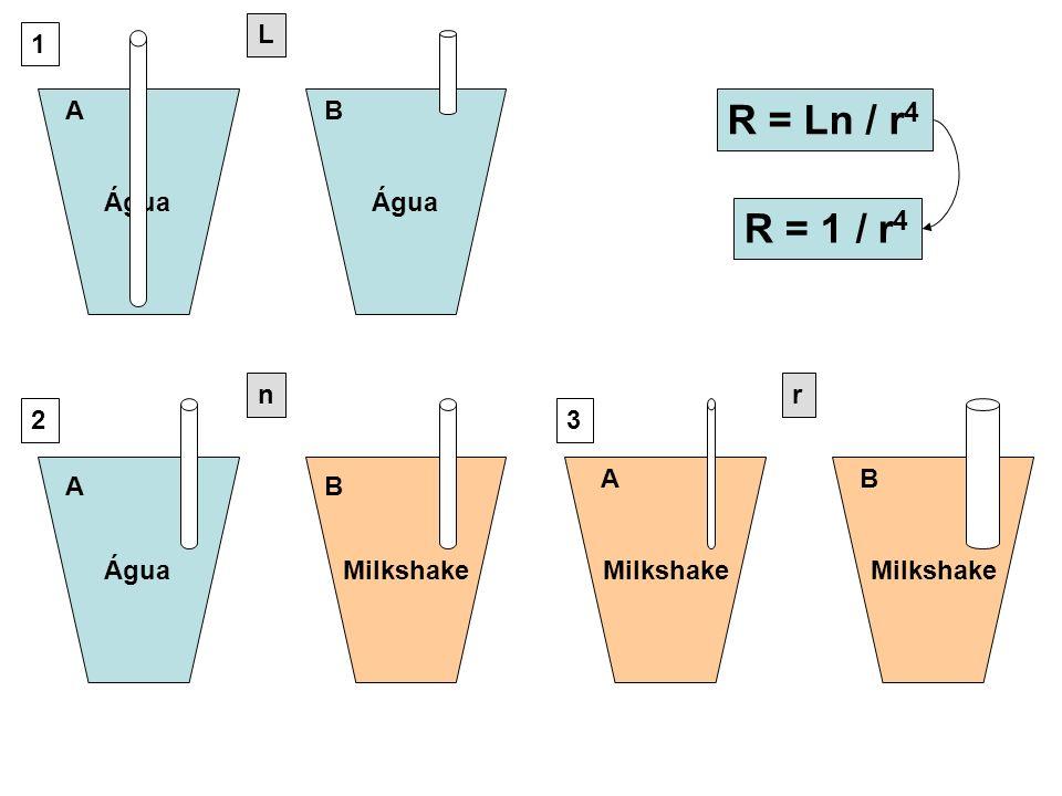 ÁguaMilkshake Água Milkshake AB AB AB 1 23 R = 1 / r 4 R = Ln / r 4 L nr
