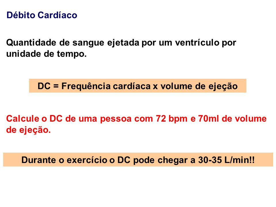 Débito Cardíaco Quantidade de sangue ejetada por um ventrículo por unidade de tempo.