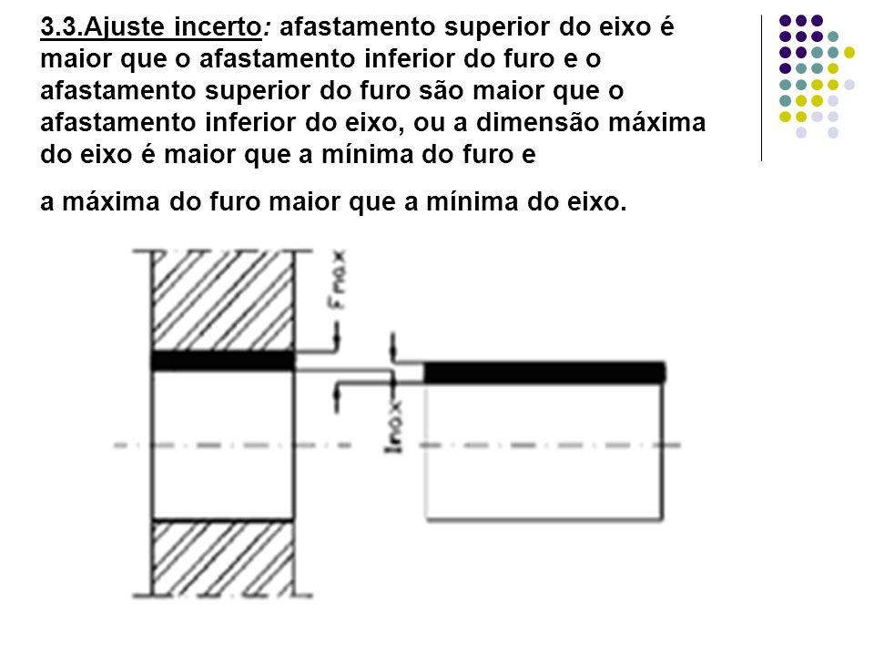 3.3.Ajuste incerto: afastamento superior do eixo é maior que o afastamento inferior do furo e o afastamento superior do furo são maior que o afastamen