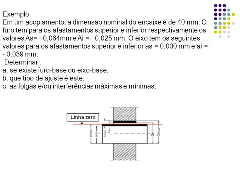 Exemplo Em um acoplamento, a dimensão nominal do encaixe é de 40 mm. O furo tem para os afastamentos superior e inferior respectivamente os valores As