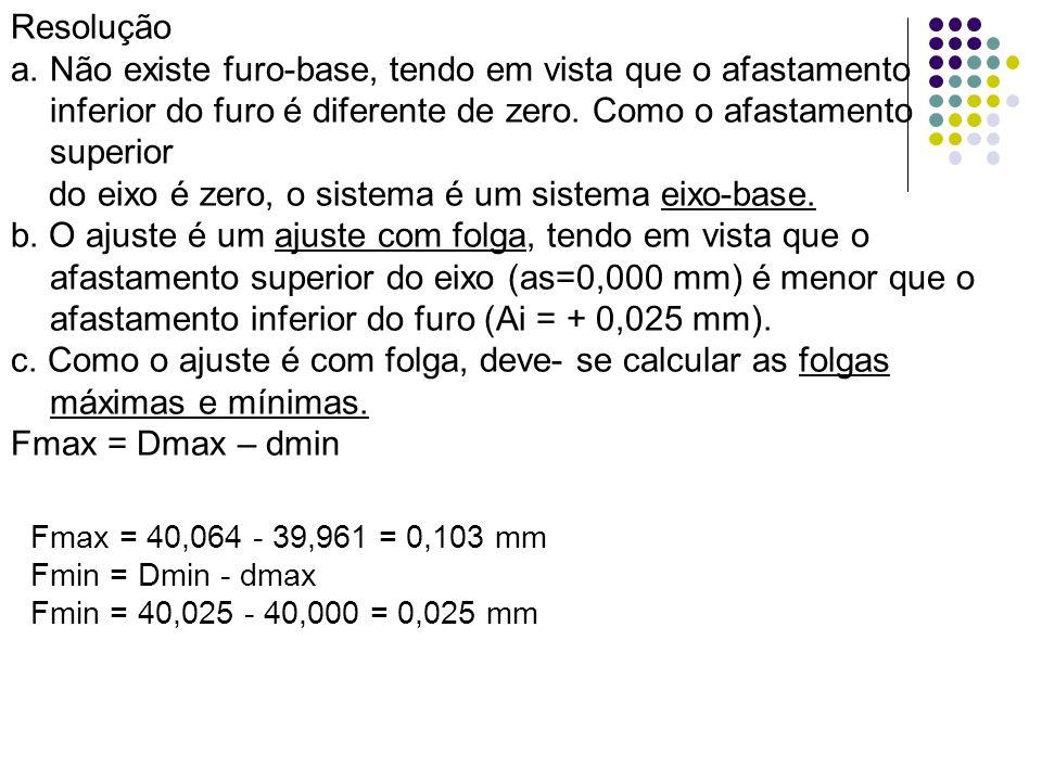 Resolução a.Não existe furo-base, tendo em vista que o afastamento inferior do furo é diferente de zero. Como o afastamento superior do eixo é zero, o
