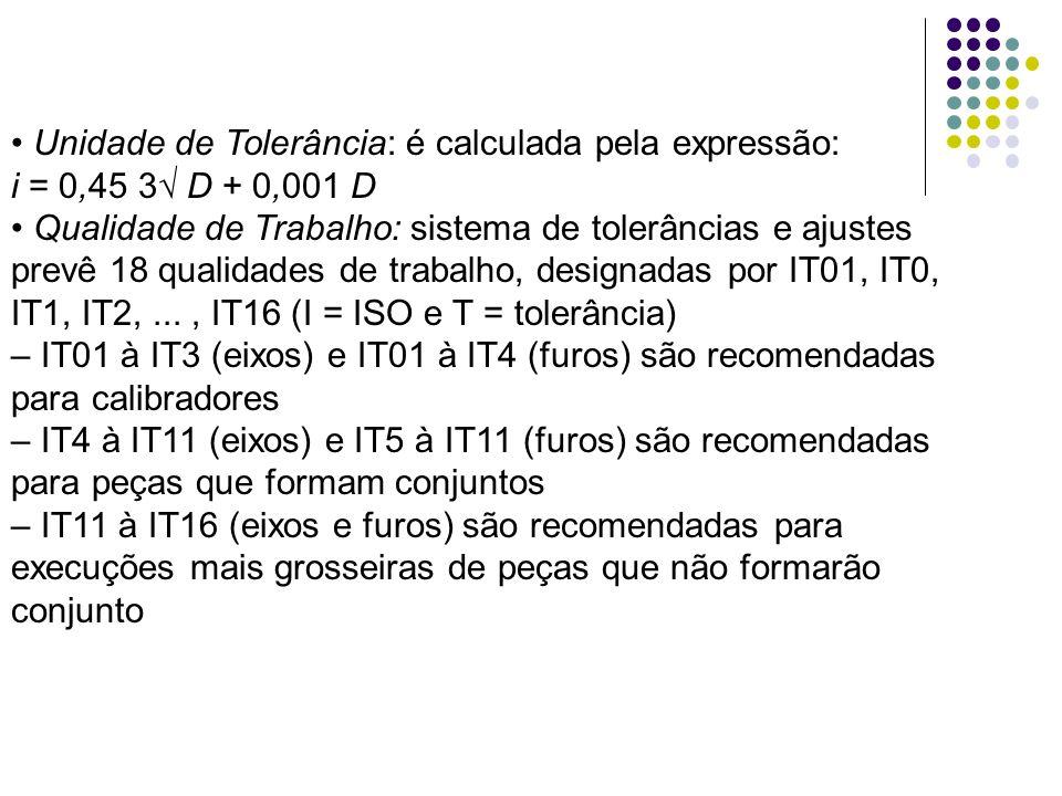 Unidade de Tolerância: é calculada pela expressão: i = 0,45 3 D + 0,001 D Qualidade de Trabalho: sistema de tolerâncias e ajustes prevê 18 qualidades