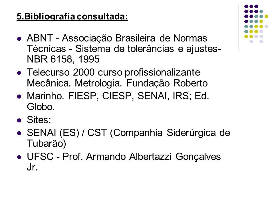 5.Bibliografia consultada: ABNT - Associação Brasileira de Normas Técnicas - Sistema de tolerâncias e ajustes- NBR 6158, 1995 Telecurso 2000 curso pro