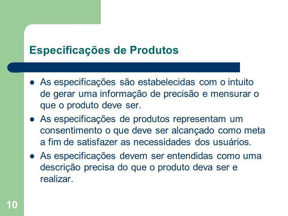 10 Especificações de Produtos As especificações são estabelecidas com o intuito de gerar uma informação de precisão e mensurar o que o produto deve se