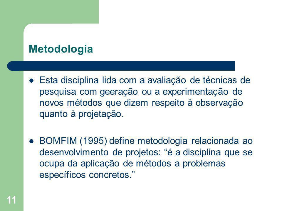 11 Metodologia Esta disciplina lida com a avaliação de técnicas de pesquisa com geeração ou a experimentação de novos métodos que dizem respeito à obs