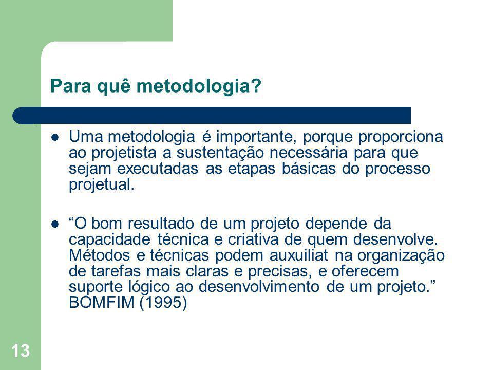 13 Para quê metodologia? Uma metodologia é importante, porque proporciona ao projetista a sustentação necessária para que sejam executadas as etapas b