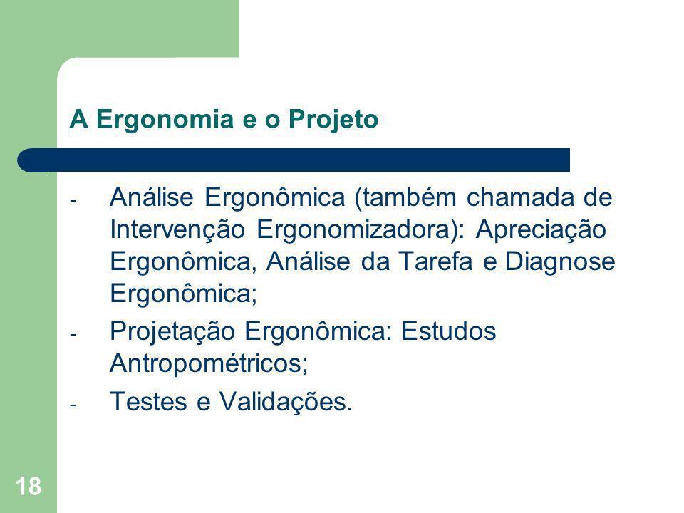 18 A Ergonomia e o Projeto - Análise Ergonômica (também chamada de Intervenção Ergonomizadora): Apreciação Ergonômica, Análise da Tarefa e Diagnose Er