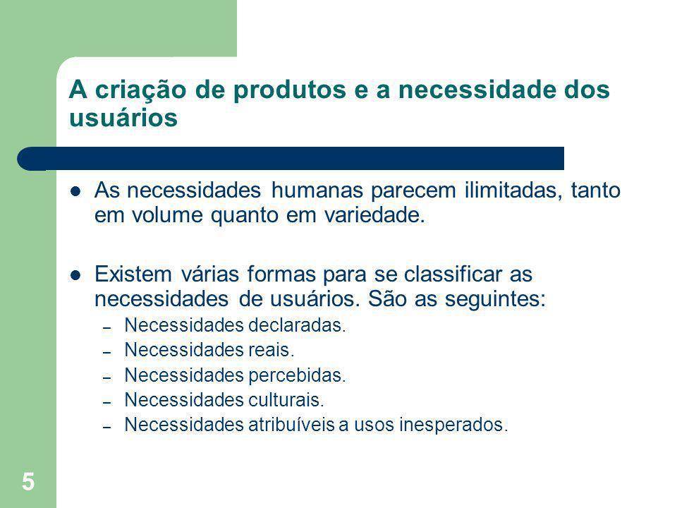 5 A criação de produtos e a necessidade dos usuários As necessidades humanas parecem ilimitadas, tanto em volume quanto em variedade. Existem várias f