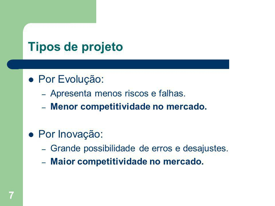 7 Tipos de projeto Por Evolução: – Apresenta menos riscos e falhas. – Menor competitividade no mercado. Por Inovação: – Grande possibilidade de erros