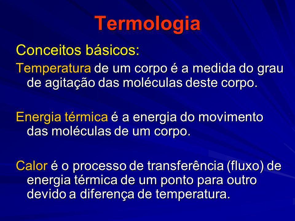 Termologia Conceitos básicos: Temperatura de um corpo é a medida do grau de agitação das moléculas deste corpo. Energia térmica é a energia do movimen