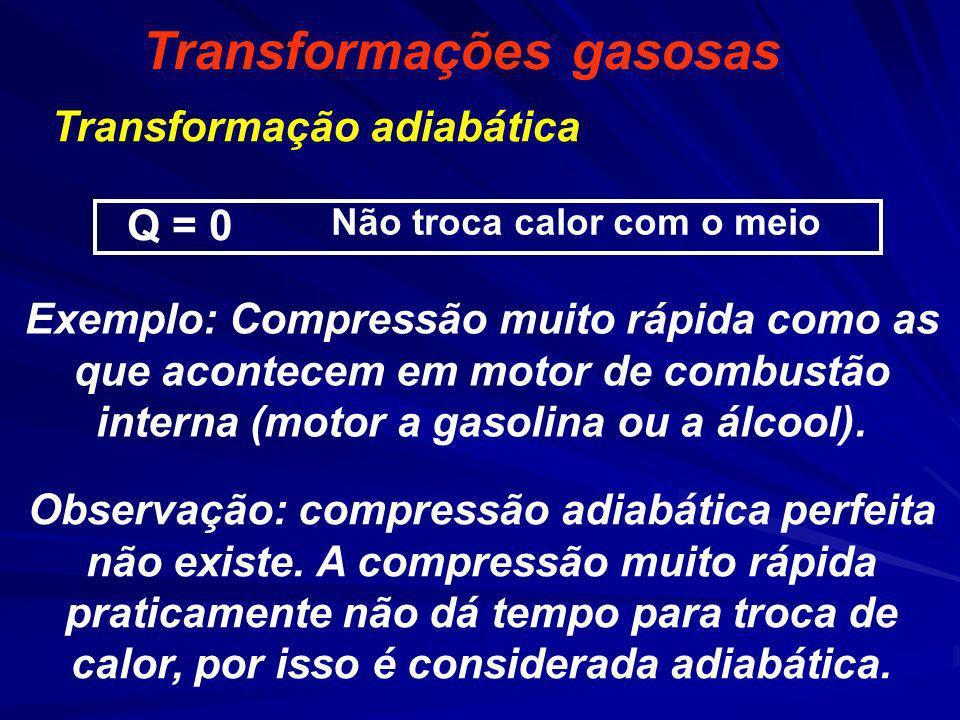Q = 0 Não troca calor com o meio Transformações gasosas Transformação adiabática Exemplo: Compressão muito rápida como as que acontecem em motor de co