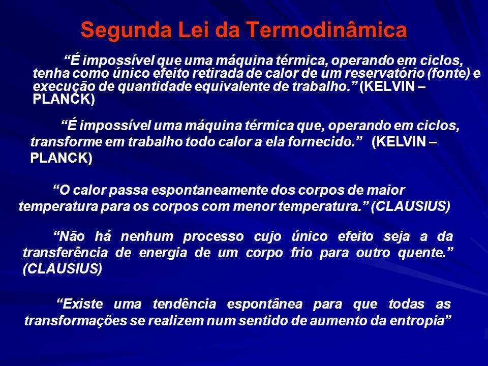 Segunda Lei da Termodinâmica É impossível que uma máquina térmica, operando em ciclos, tenha como único efeito retirada de calor de um reservatório (f