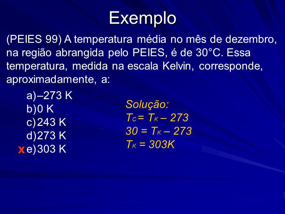 Exemplo (PEIES 99) A temperatura média no mês de dezembro, na região abrangida pelo PEIES, é de 30°C. Essa temperatura, medida na escala Kelvin, corre