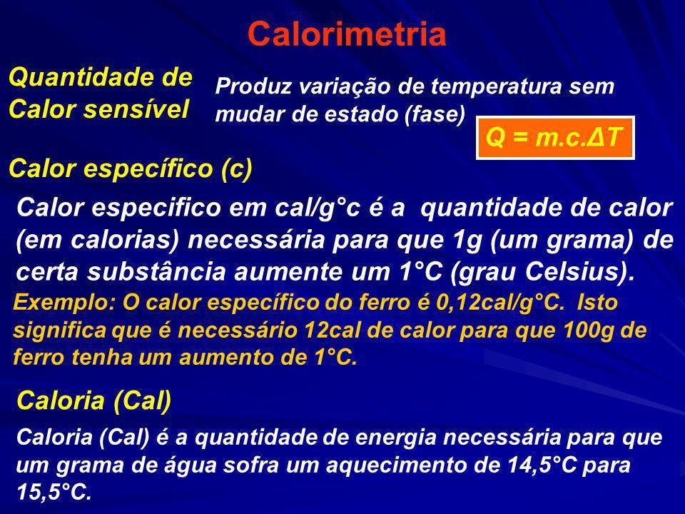 Calorimetria Caloria (Cal) é a quantidade de energia necessária para que um grama de água sofra um aquecimento de 14,5°C para 15,5°C. Quantidade de Ca