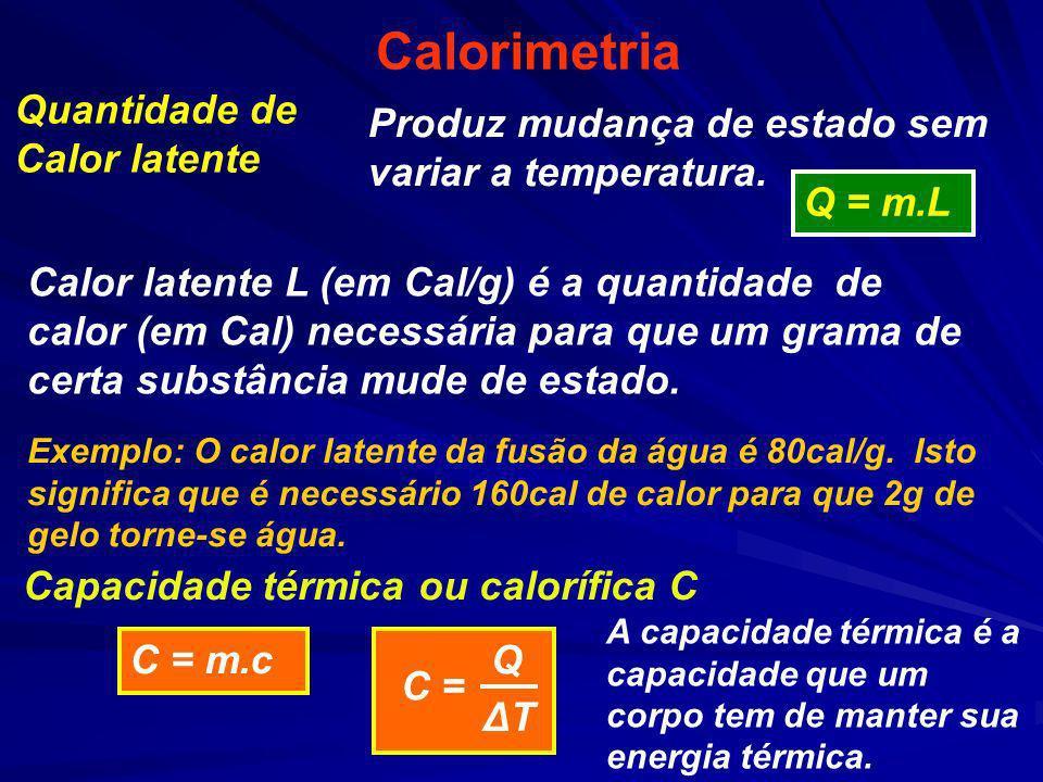 Calorimetria Produz mudança de estado sem variar a temperatura. Calor latente L (em Cal/g) é a quantidade de calor (em Cal) necessária para que um gra