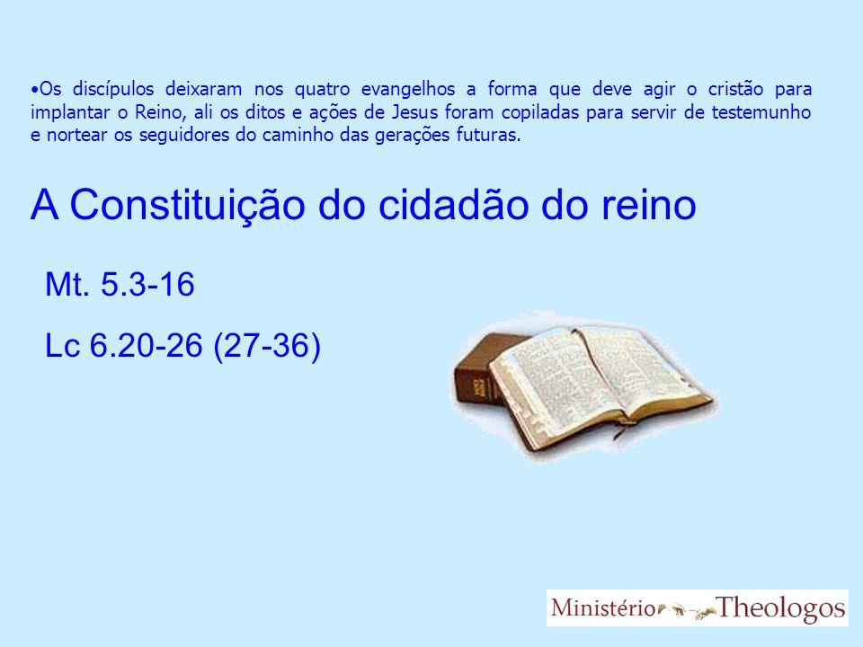 Os discípulos deixaram nos quatro evangelhos a forma que deve agir o cristão para implantar o Reino, ali os ditos e ações de Jesus foram copiladas par