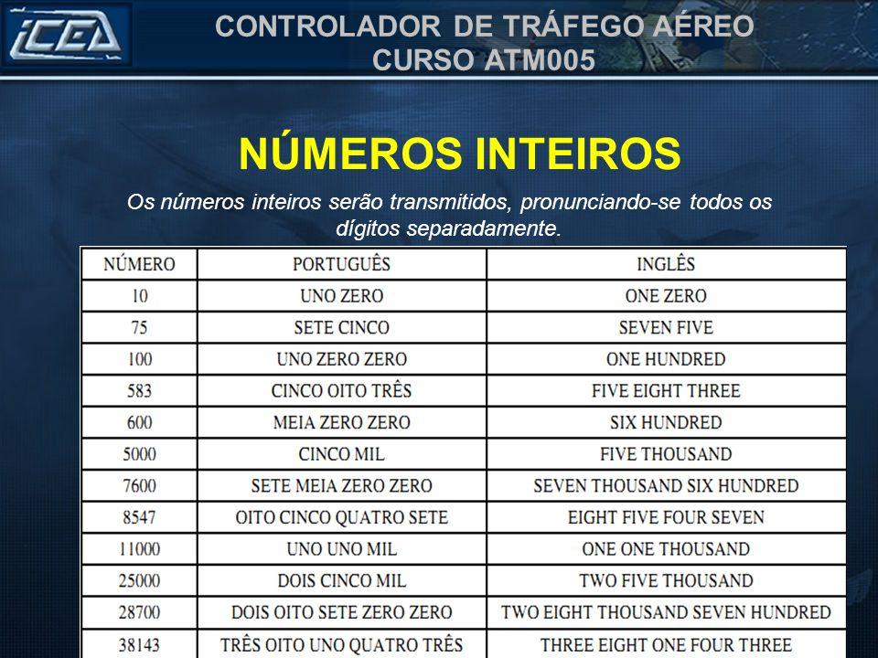 CONTROLADOR DE TRÁFEGO AÉREO CURSO ATM005 NÚMEROS INTEIROS Os números inteiros serão transmitidos, pronunciando-se todos os dígitos separadamente.
