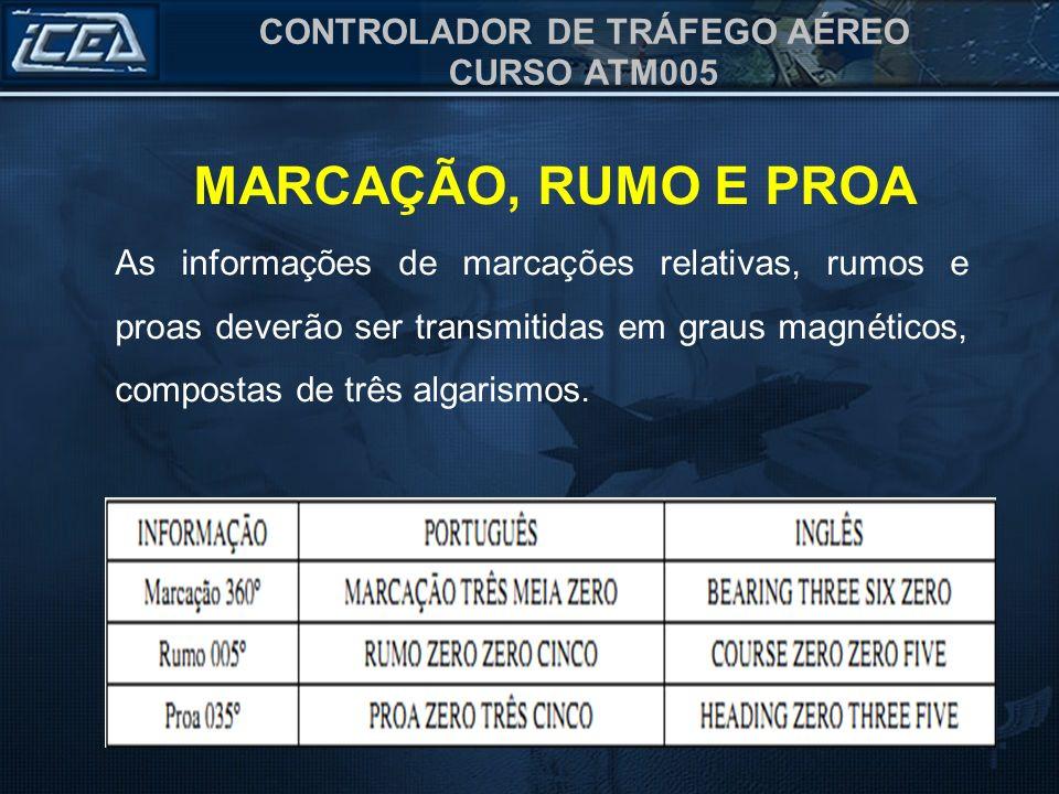 CONTROLADOR DE TRÁFEGO AÉREO CURSO ATM005 As informações de marcações relativas, rumos e proas deverão ser transmitidas em graus magnéticos, compostas