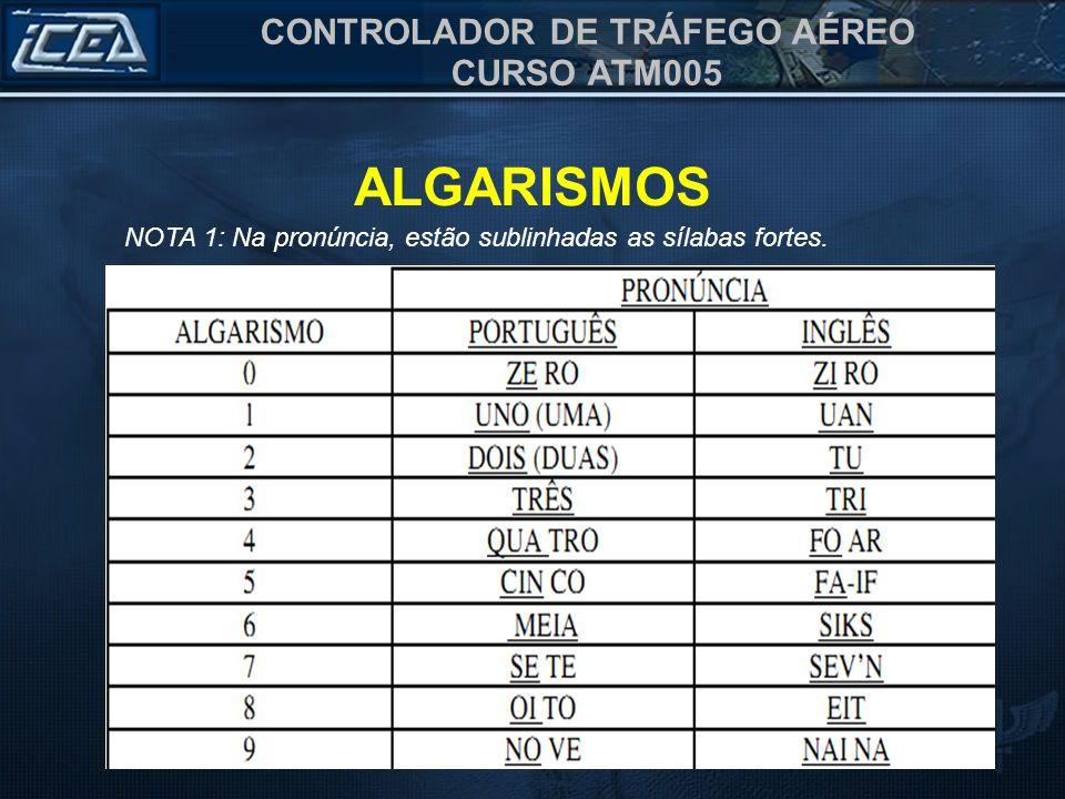 CONTROLADOR DE TRÁFEGO AÉREO CURSO ATM005 ALGARISMOS NOTA 1: Na pronúncia, estão sublinhadas as sílabas fortes.