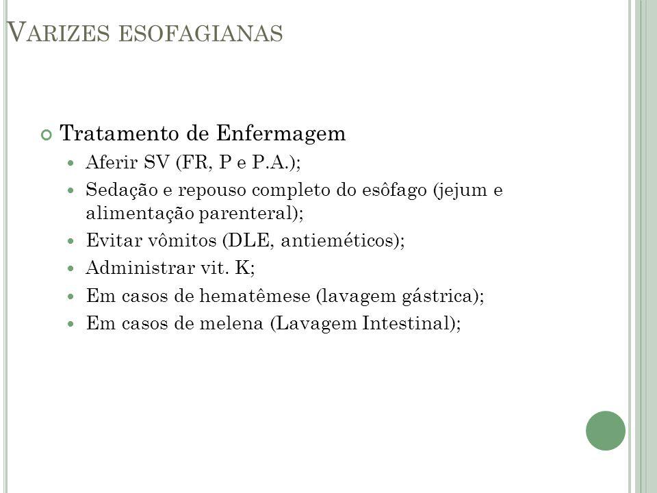 V ARIZES ESOFAGIANAS Tratamento de Enfermagem Aferir SV (FR, P e P.A.); Sedação e repouso completo do esôfago (jejum e alimentação parenteral); Evitar