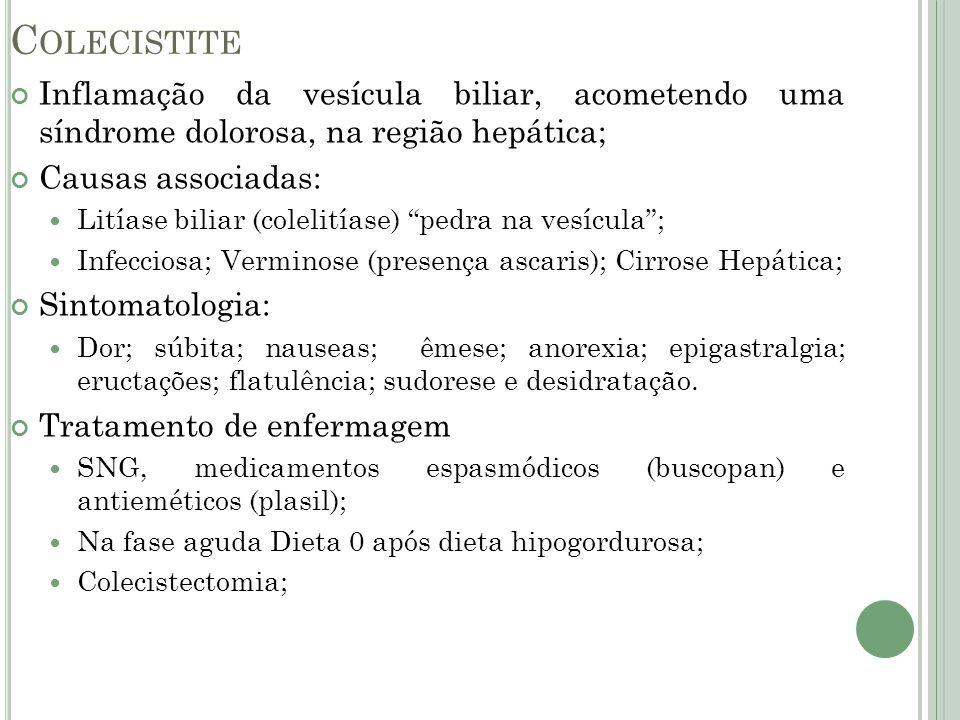 C OLECISTITE Inflamação da vesícula biliar, acometendo uma síndrome dolorosa, na região hepática; Causas associadas: Litíase biliar (colelitíase) pedr