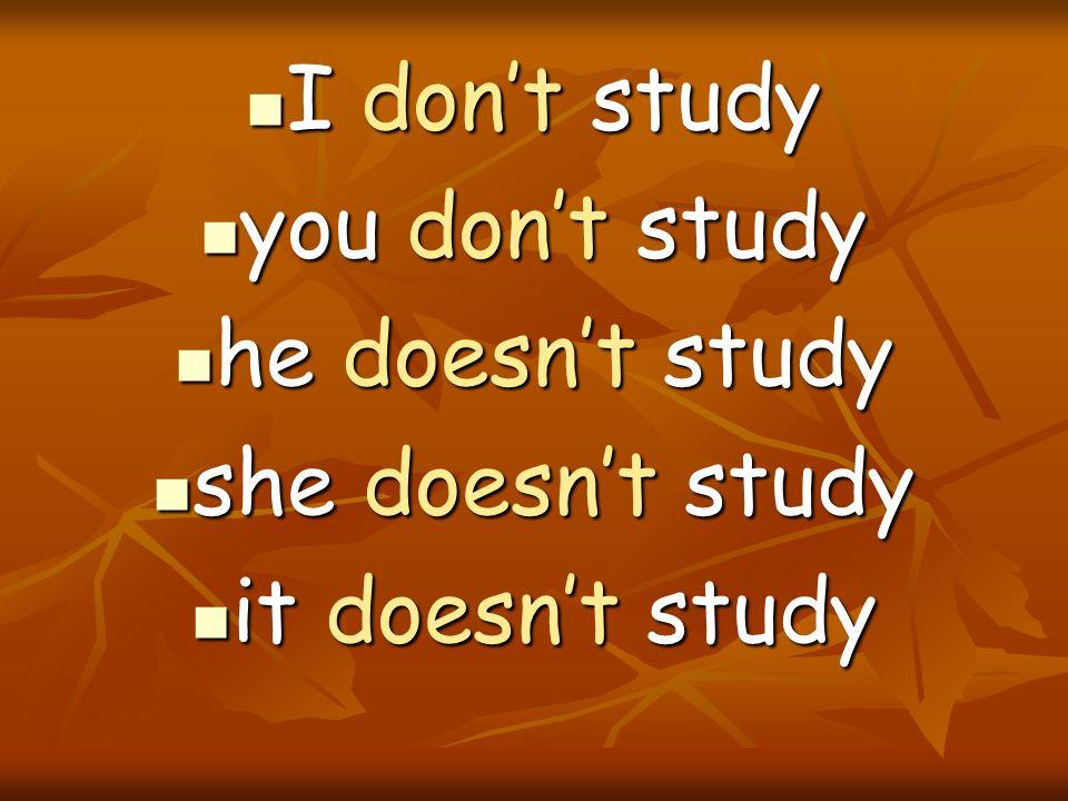 I dont study I dont study you dont study you dont study he doesnt study he doesnt study she doesnt study she doesnt study it doesnt study it doesnt st