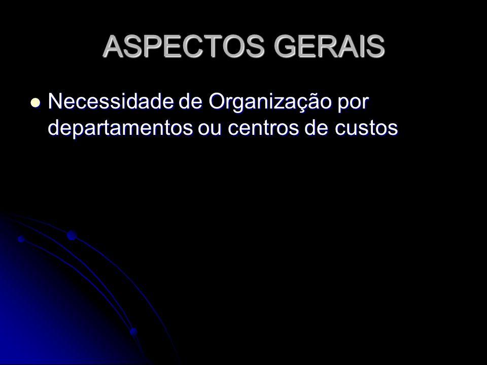 ASPECTOS GERAIS Necessidade de Organização por departamentos ou centros de custos Necessidade de Organização por departamentos ou centros de custos