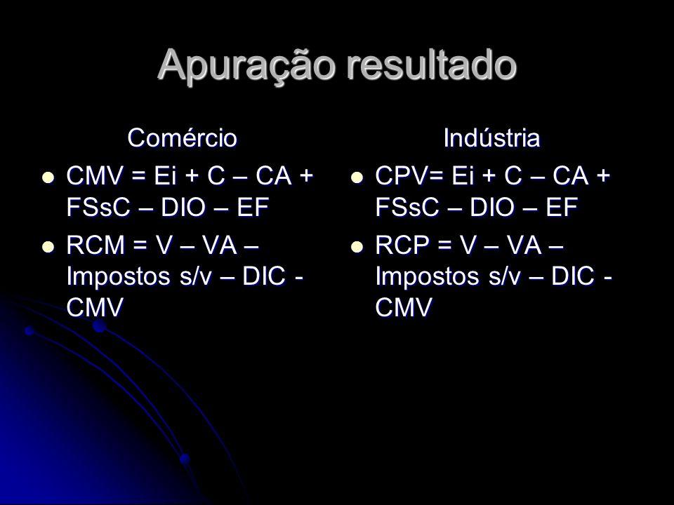 Apuração resultado Comércio CMV = Ei + C – CA + FSsC – DIO – EF CMV = Ei + C – CA + FSsC – DIO – EF RCM = V – VA – Impostos s/v – DIC - CMV RCM = V –