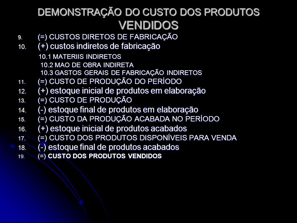 DEMONSTRAÇÃO DO CUSTO DOS PRODUTOS VENDIDOS 9. (=) CUSTOS DIRETOS DE FABRICAÇÃO 10. (+) custos indiretos de fabricação 10.1 MATERIIS INDIRETOS 10.1 MA