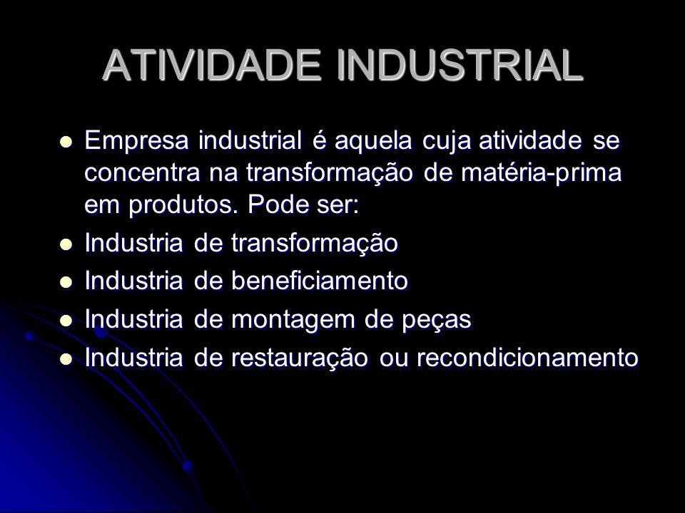 ATIVIDADE INDUSTRIAL Empresa industrial é aquela cuja atividade se concentra na transformação de matéria-prima em produtos. Pode ser: Empresa industri