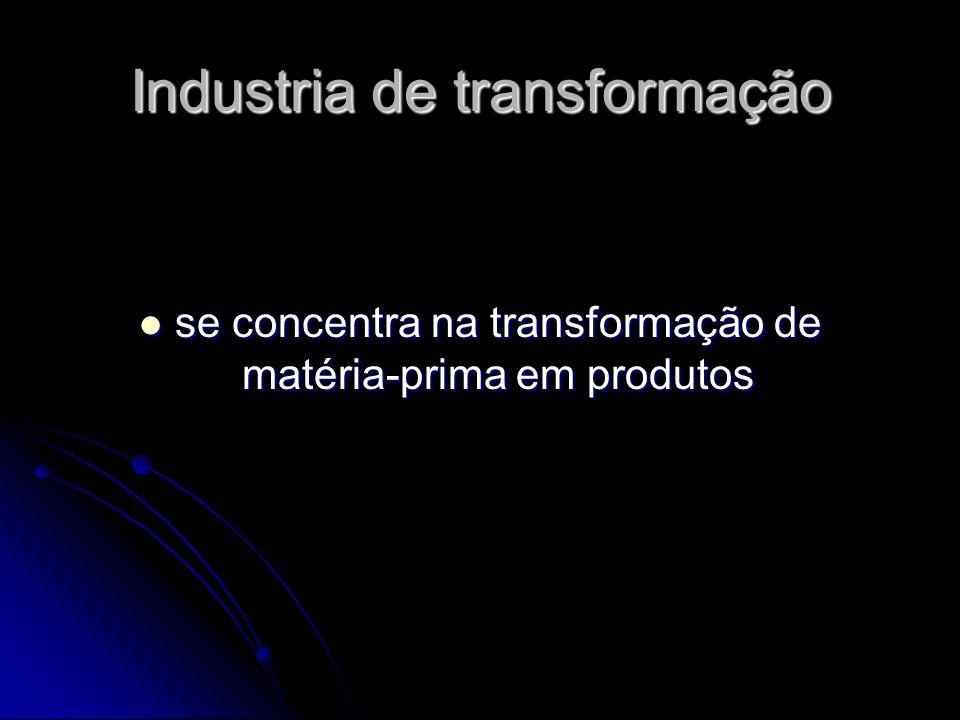 Industria de transformação se concentra na transformação de matéria-prima em produtos se concentra na transformação de matéria-prima em produtos