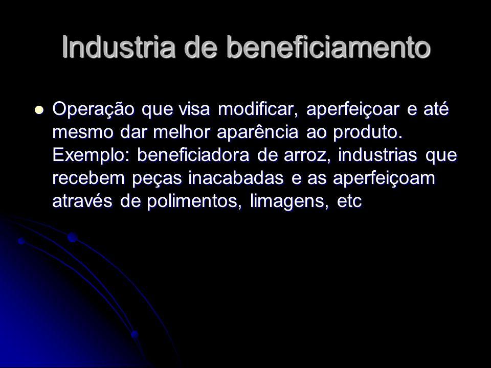 Industria de beneficiamento Operação que visa modificar, aperfeiçoar e até mesmo dar melhor aparência ao produto. Exemplo: beneficiadora de arroz, ind